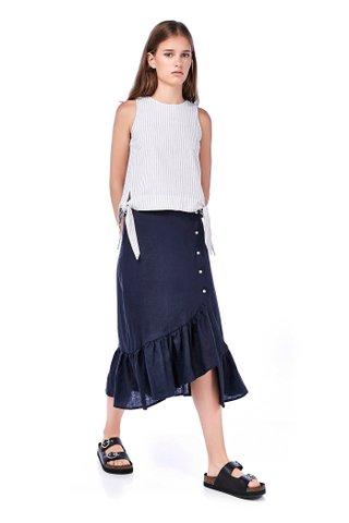Faustine Ruffle-Hem Wrap Skirt