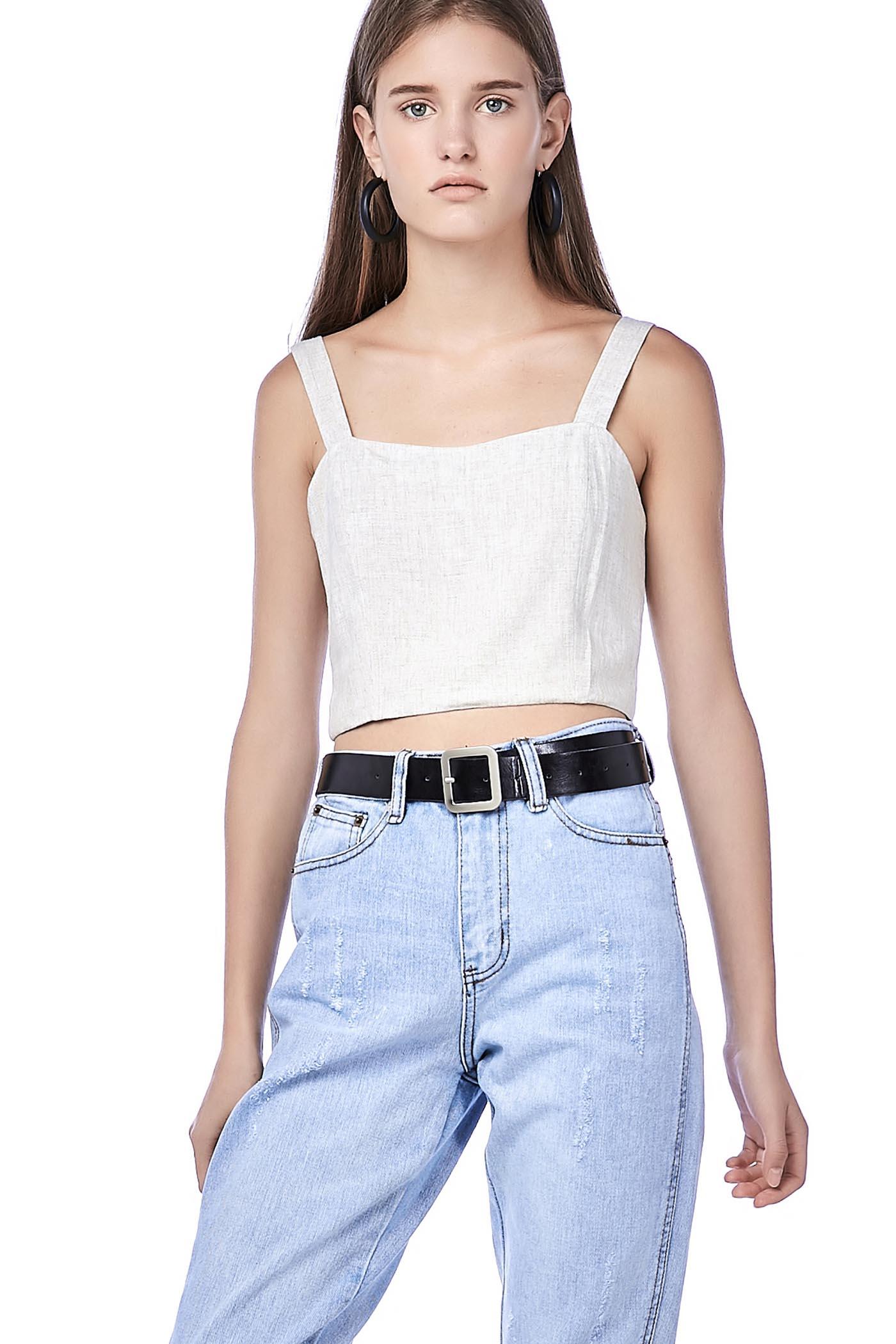 Rini Back-Button Crop Top