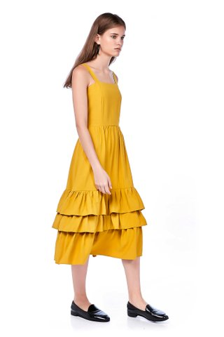 Damira Tiered-hem Midi Dress