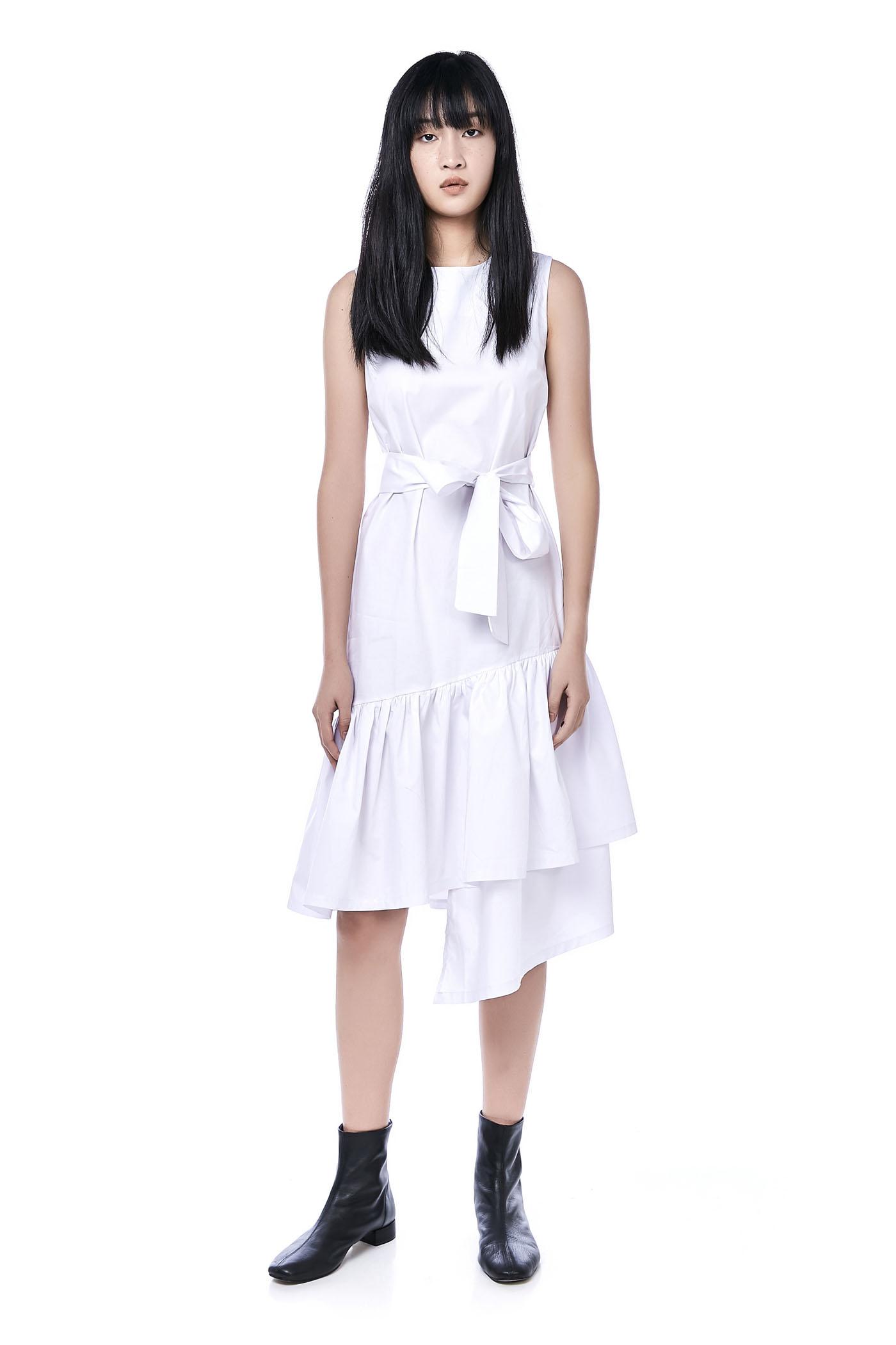 Marcel Asymmetric-Hem Midi Dress