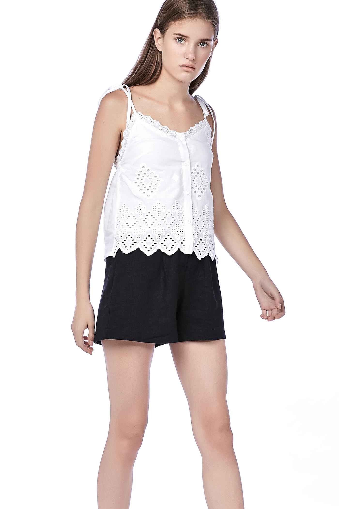 Chriselle Broderie Top