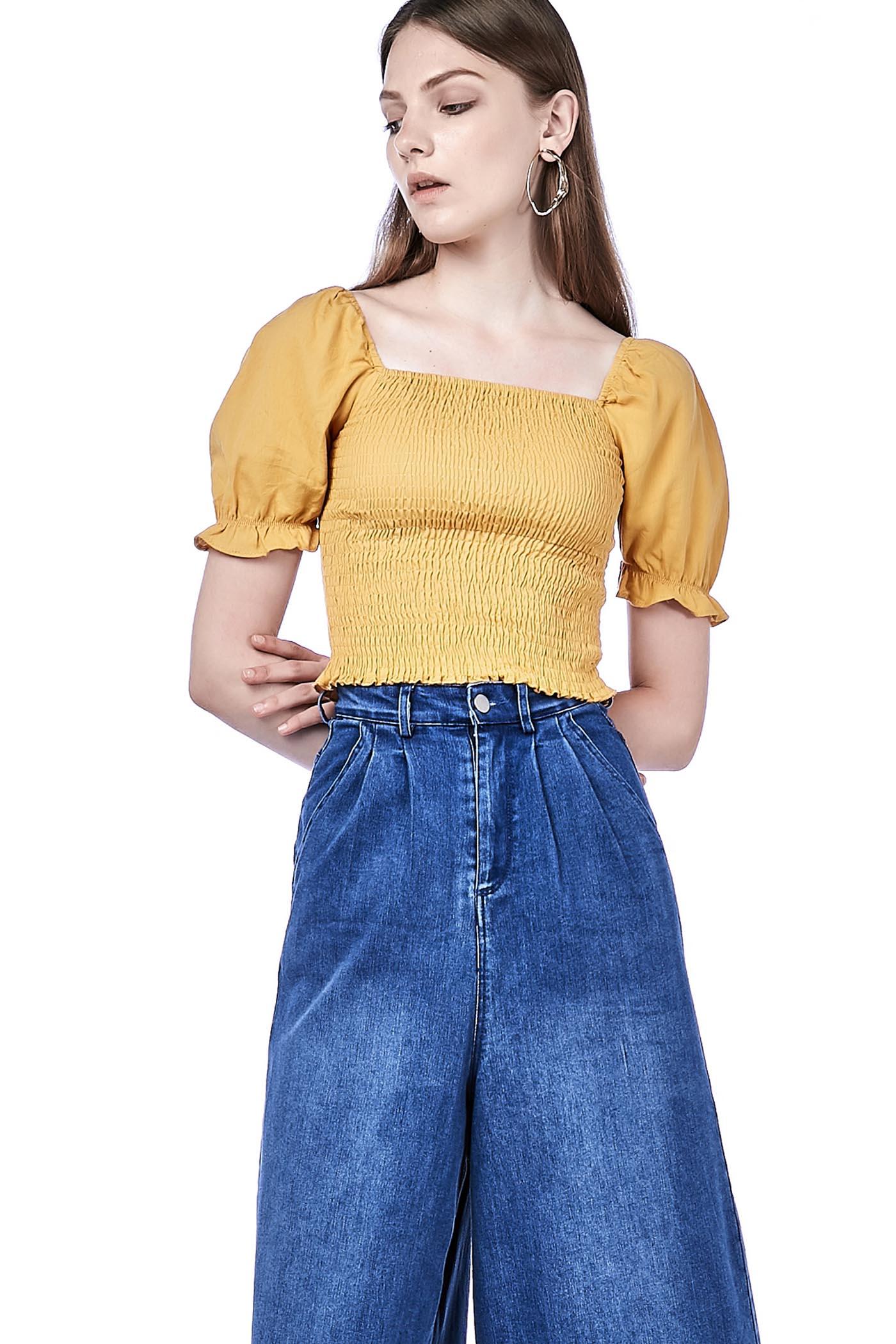 Loue Puff-sleeve Crop Top