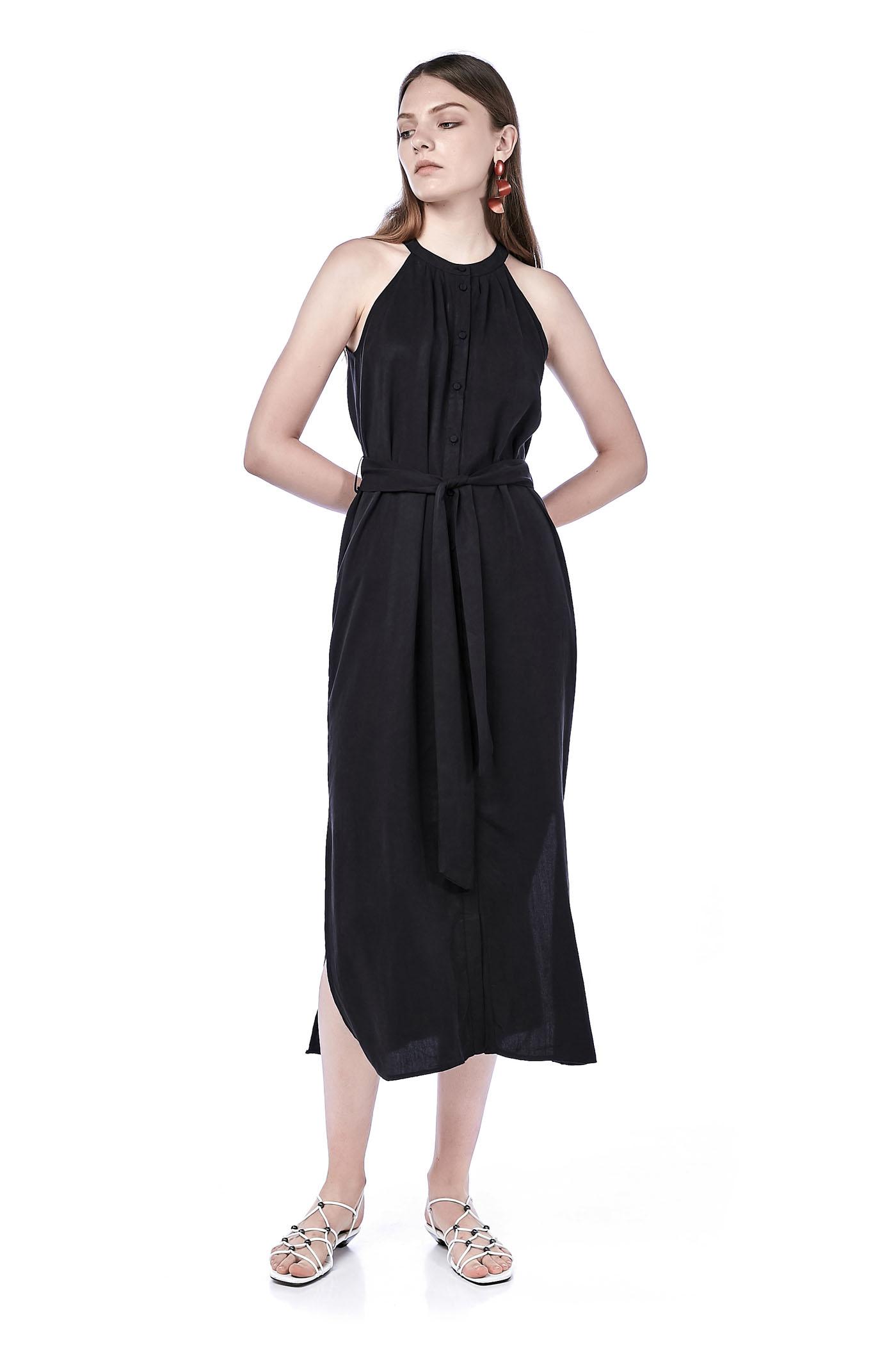 Herlina Ring-Neck Maxi Dress
