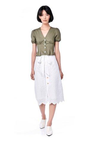 Alora Eyelet Midi Skirt