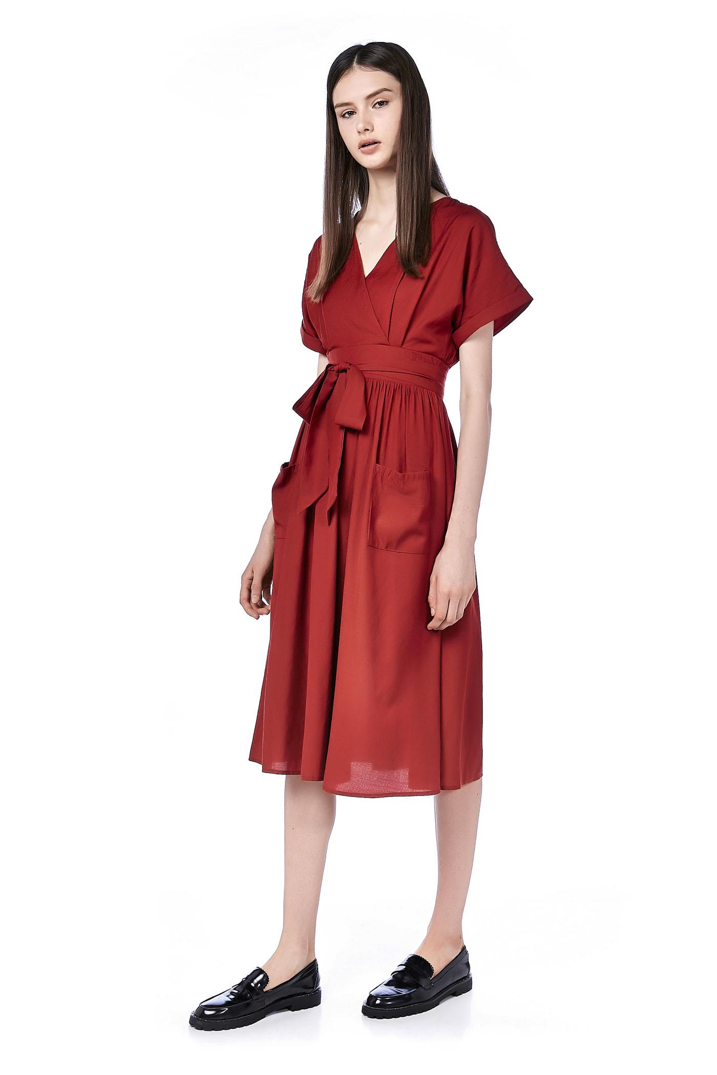 Shelaine Cross-front Midi Dress