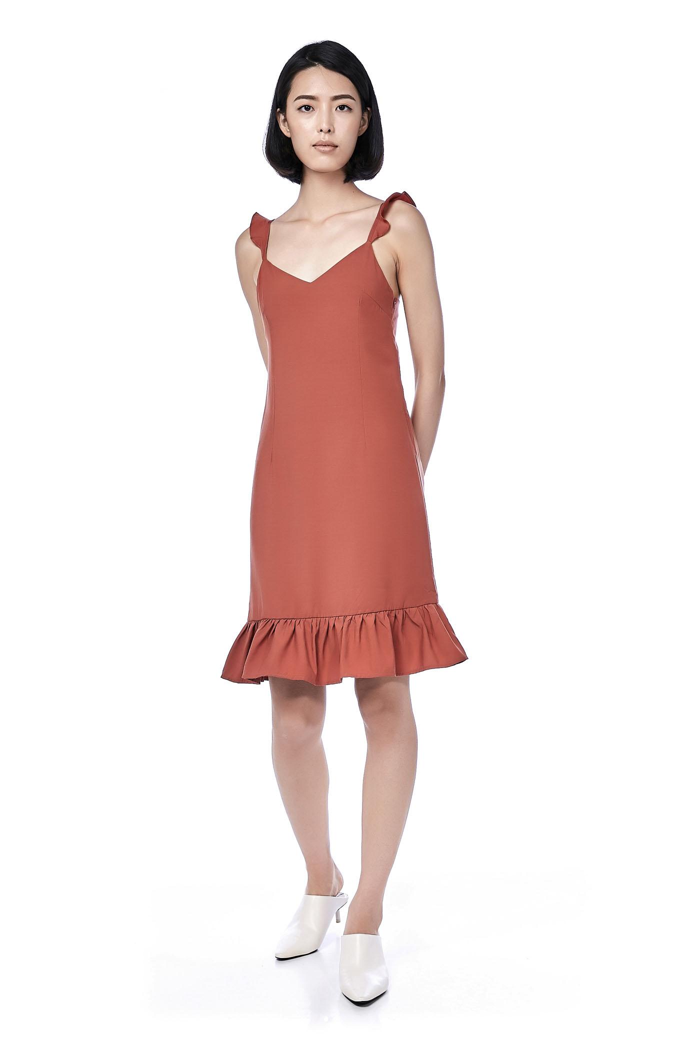 Marla Ruffle-Hem Midi Dress