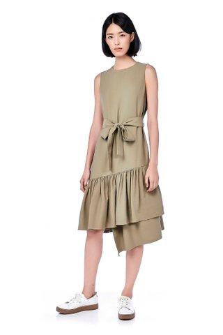 Mary Asymmetric-Hem Midi Dress