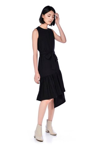Mary Asymmetric-Hem Midi Dress