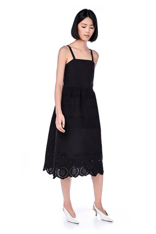 Vinn Pin Tuck Broderie-Hem Dress