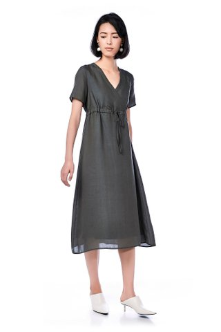 Kina Overlap Drawstring Maxi Dress