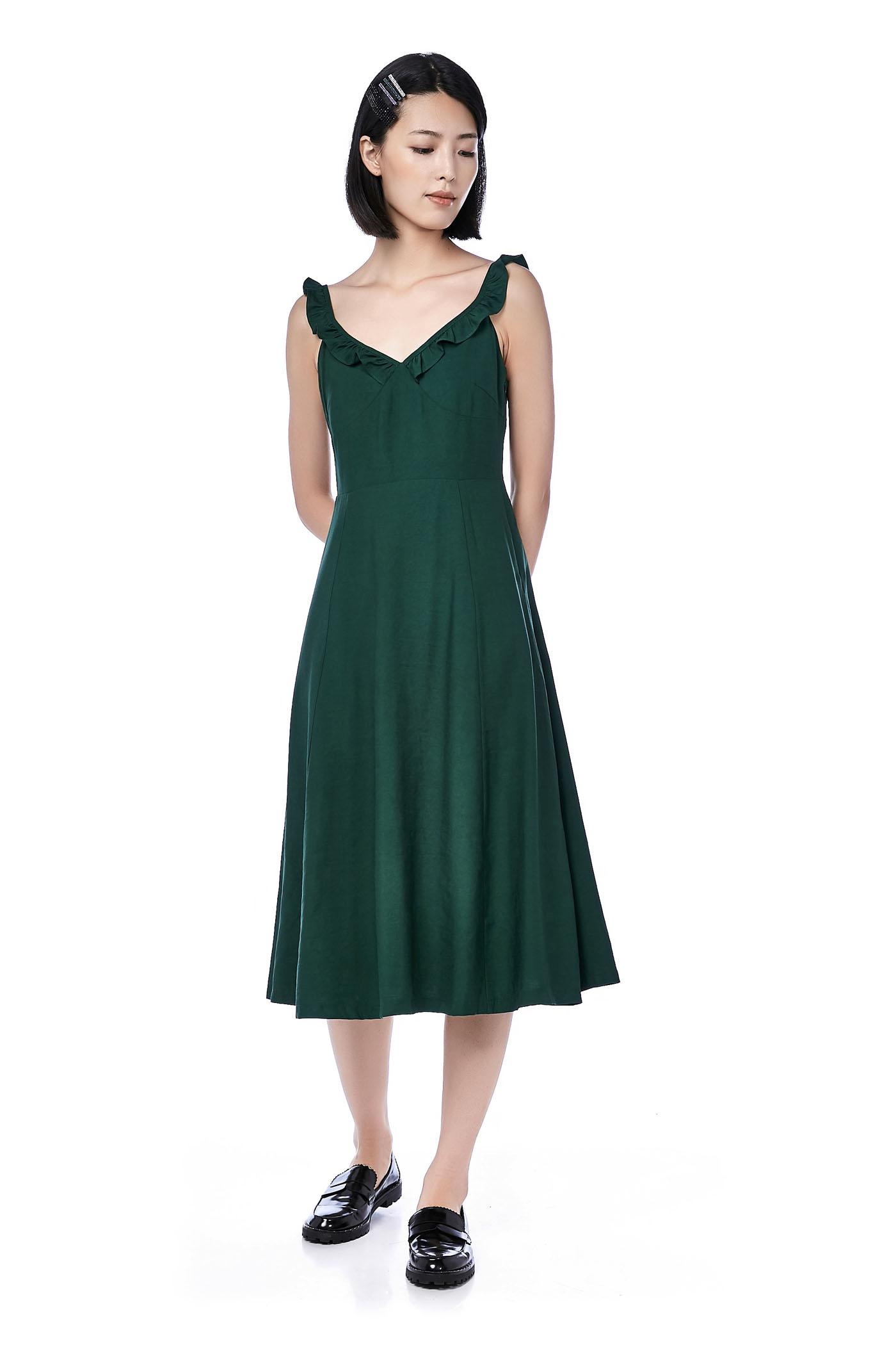 Arlisa Ruffle-strap Midi Dress