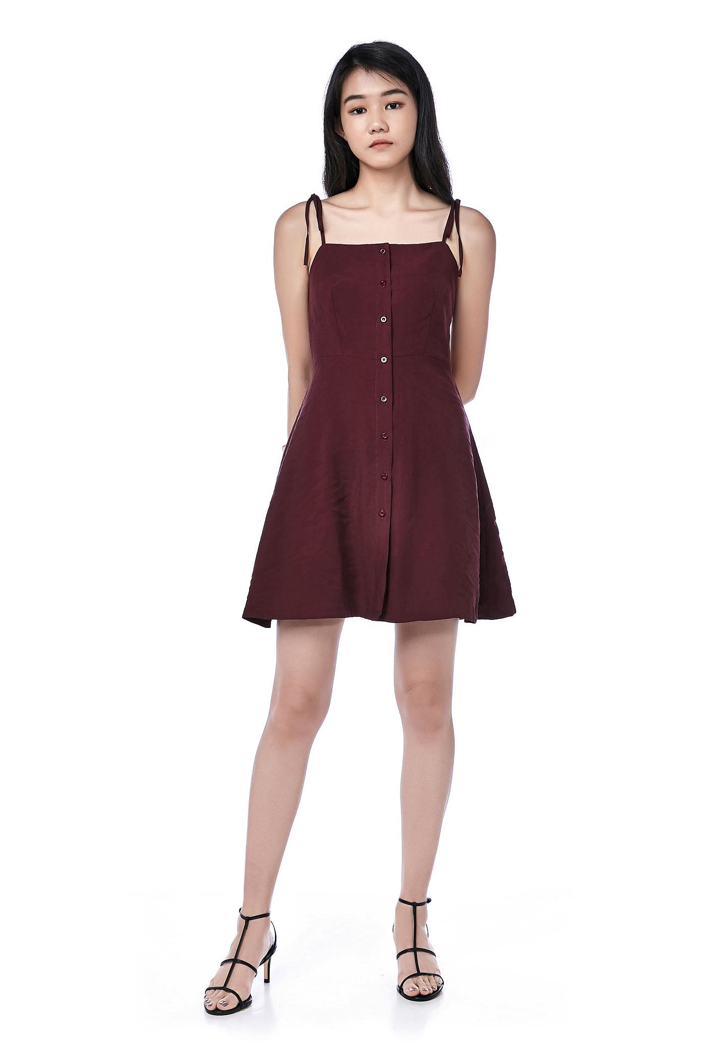 Tafetta Button-Through Bib Dress