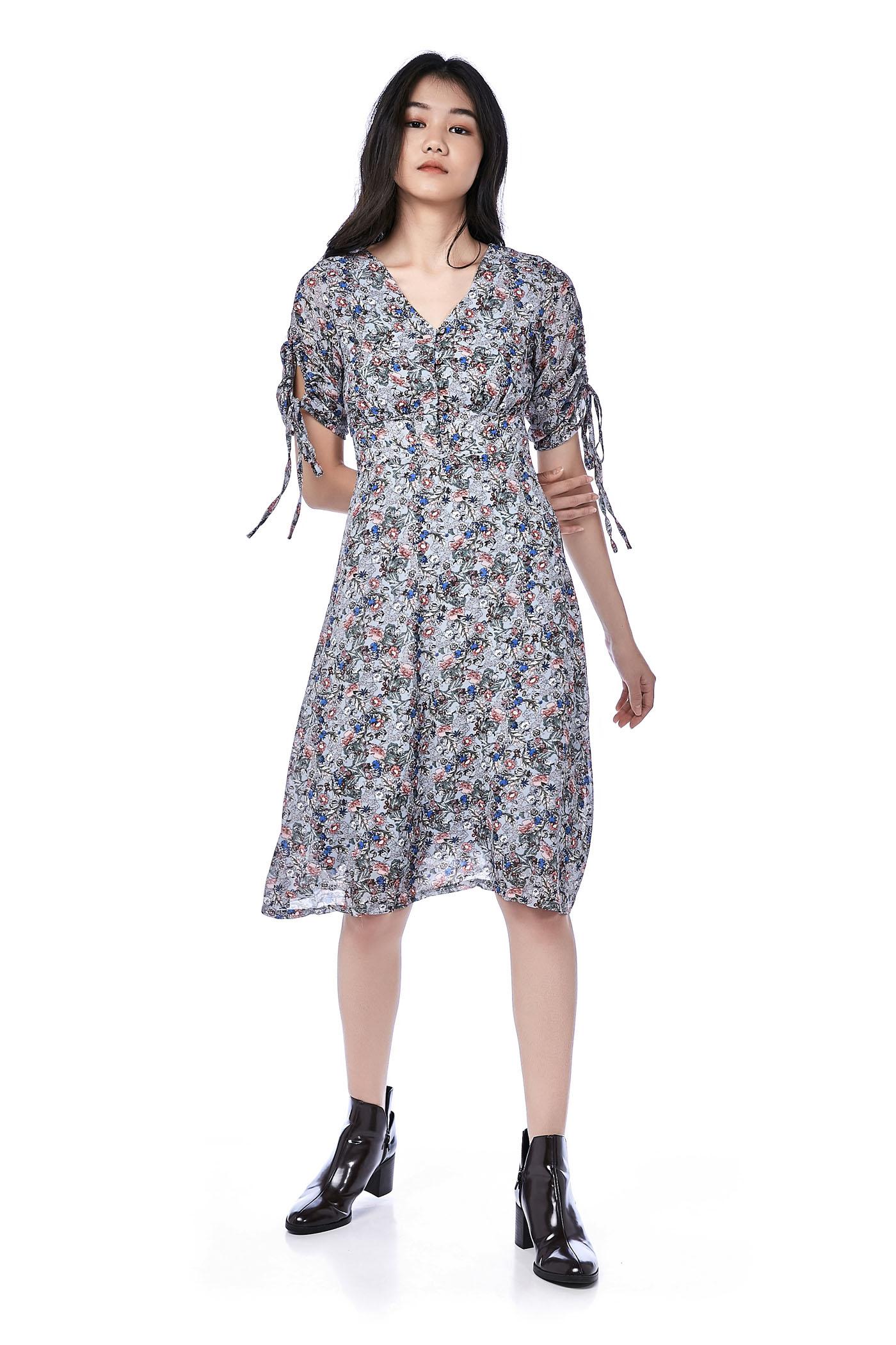 Tiona Ruched-Sleeve Prairie Dress