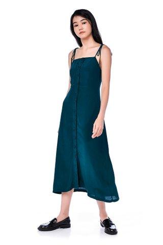Riviera Button-Through Bib Midi Dress