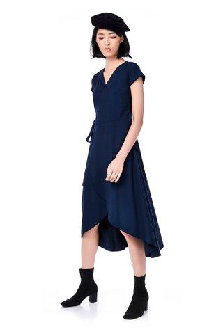 Brena Dip-hem Wrap Dress