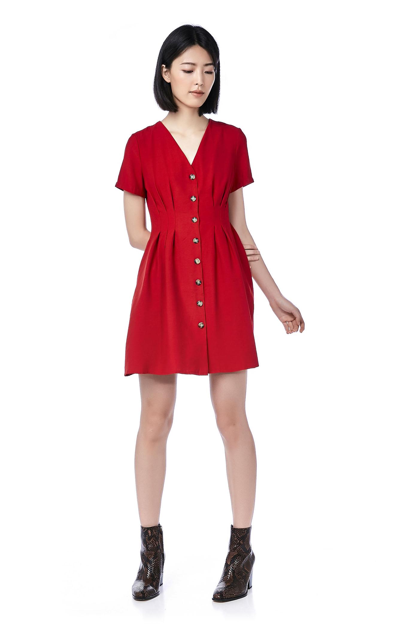 Catt Tuck-Seam Button-Through Dress