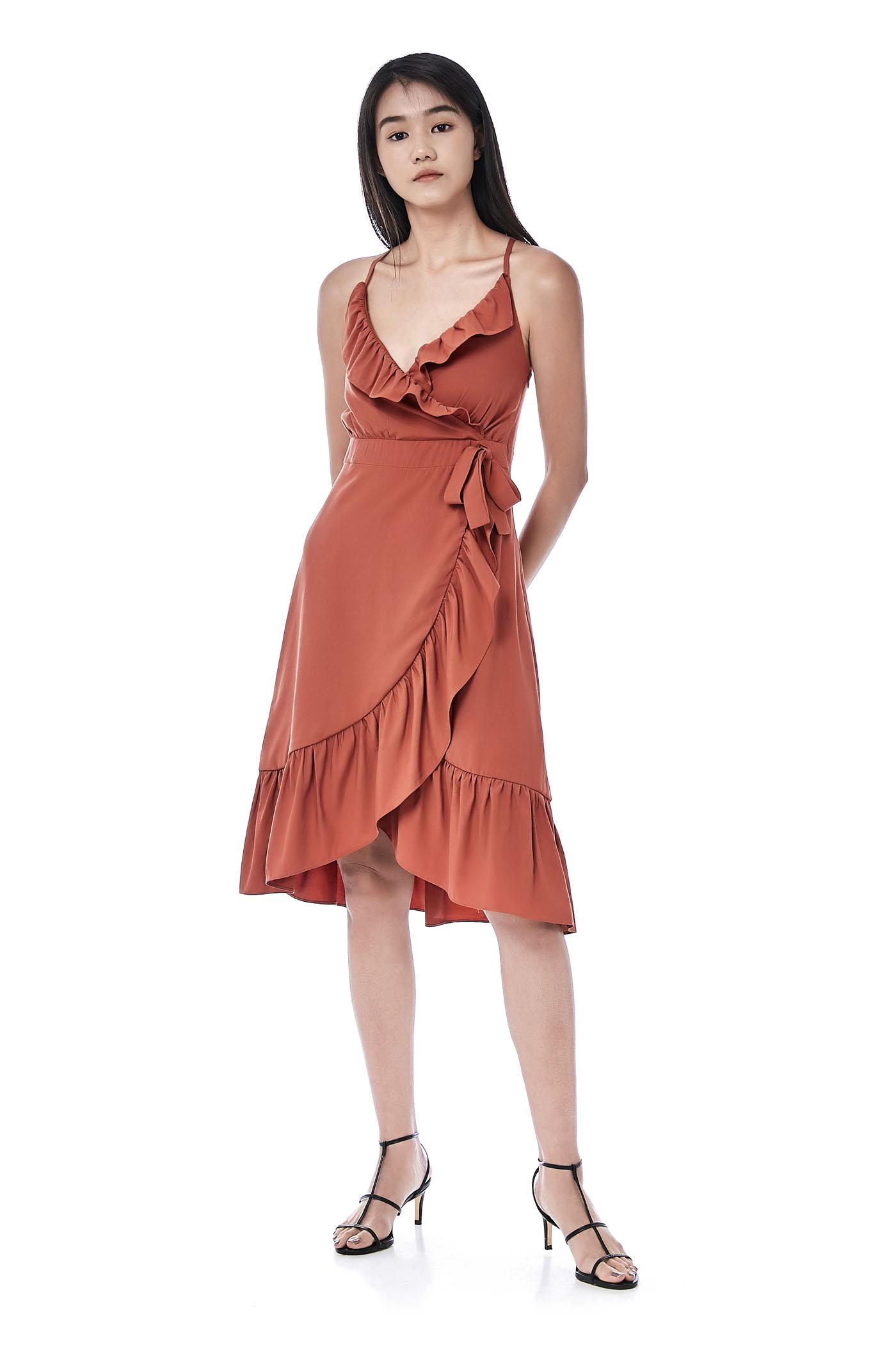 Mae Ruffle-Trim Strap-Tie Dress