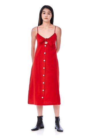 Daisy Front-Tie Midi Dress
