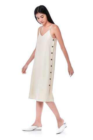 Jayda Side-Button Slip Dress