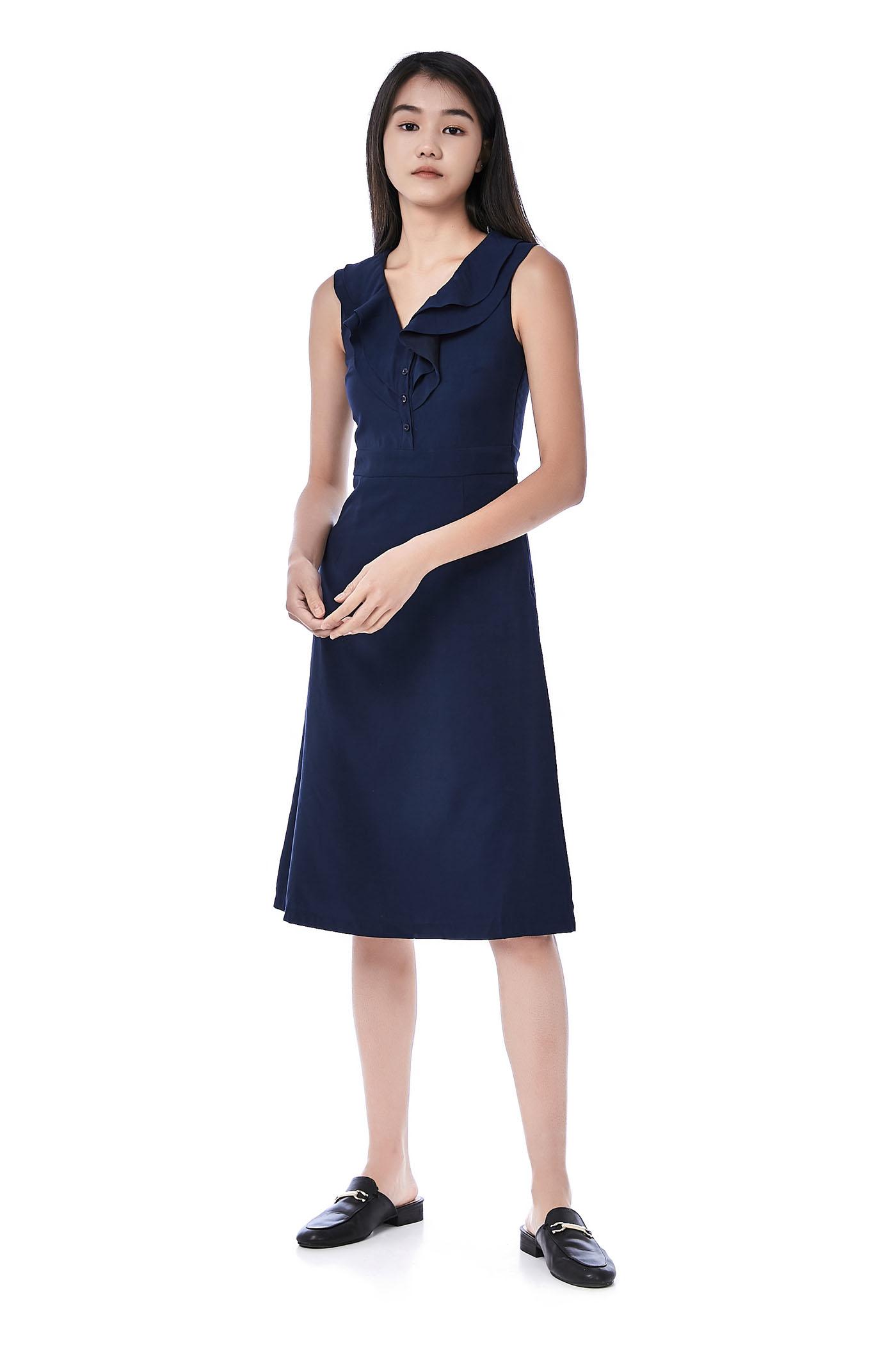 Leslie Ruffle V-Neck Dress