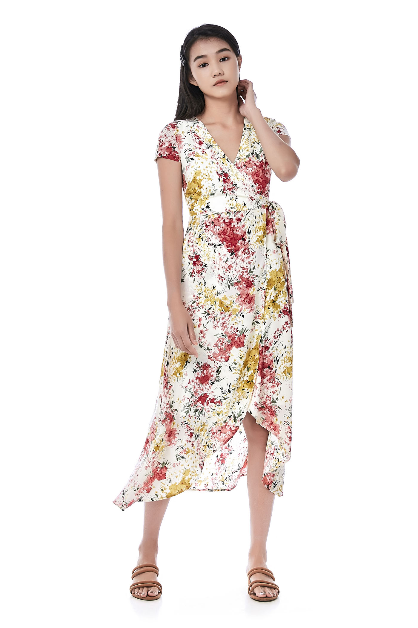 Raveena Dip-Hem Wrap Dress