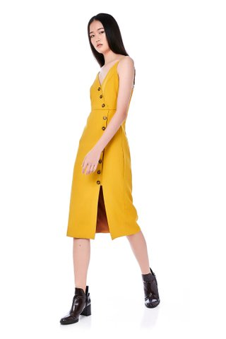 Miraya Button-Down Midi Dress