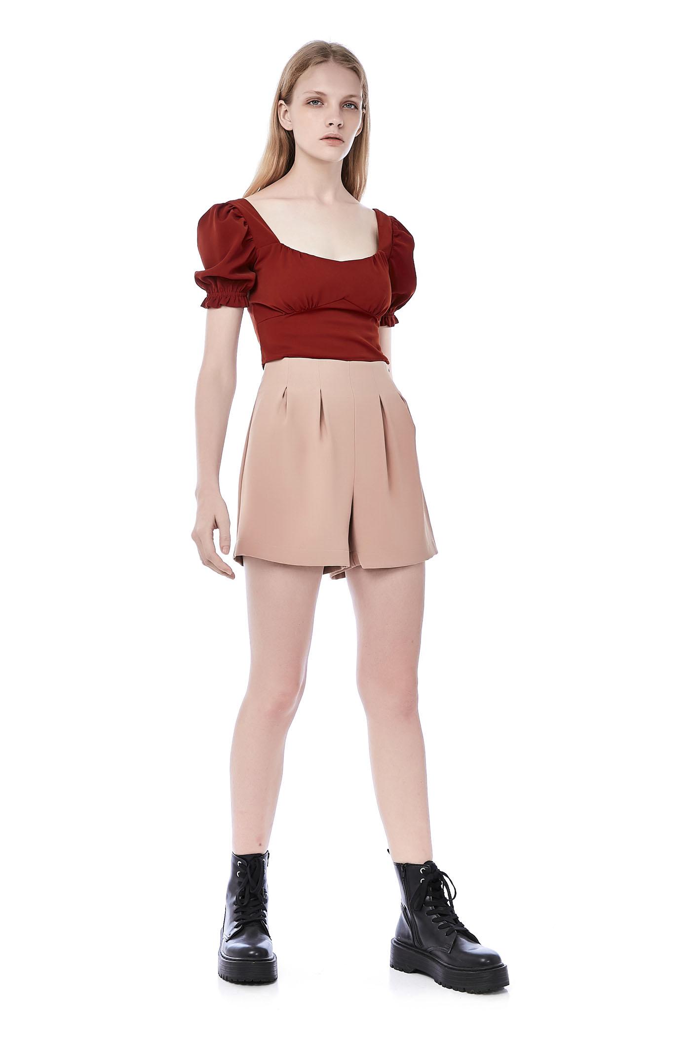 Livya Pouf-Sleeve Crop Top