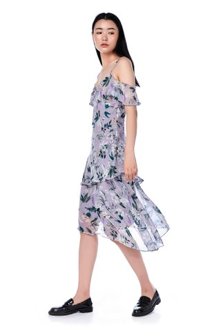Coria Cold-Shoulder Ruffle Dress