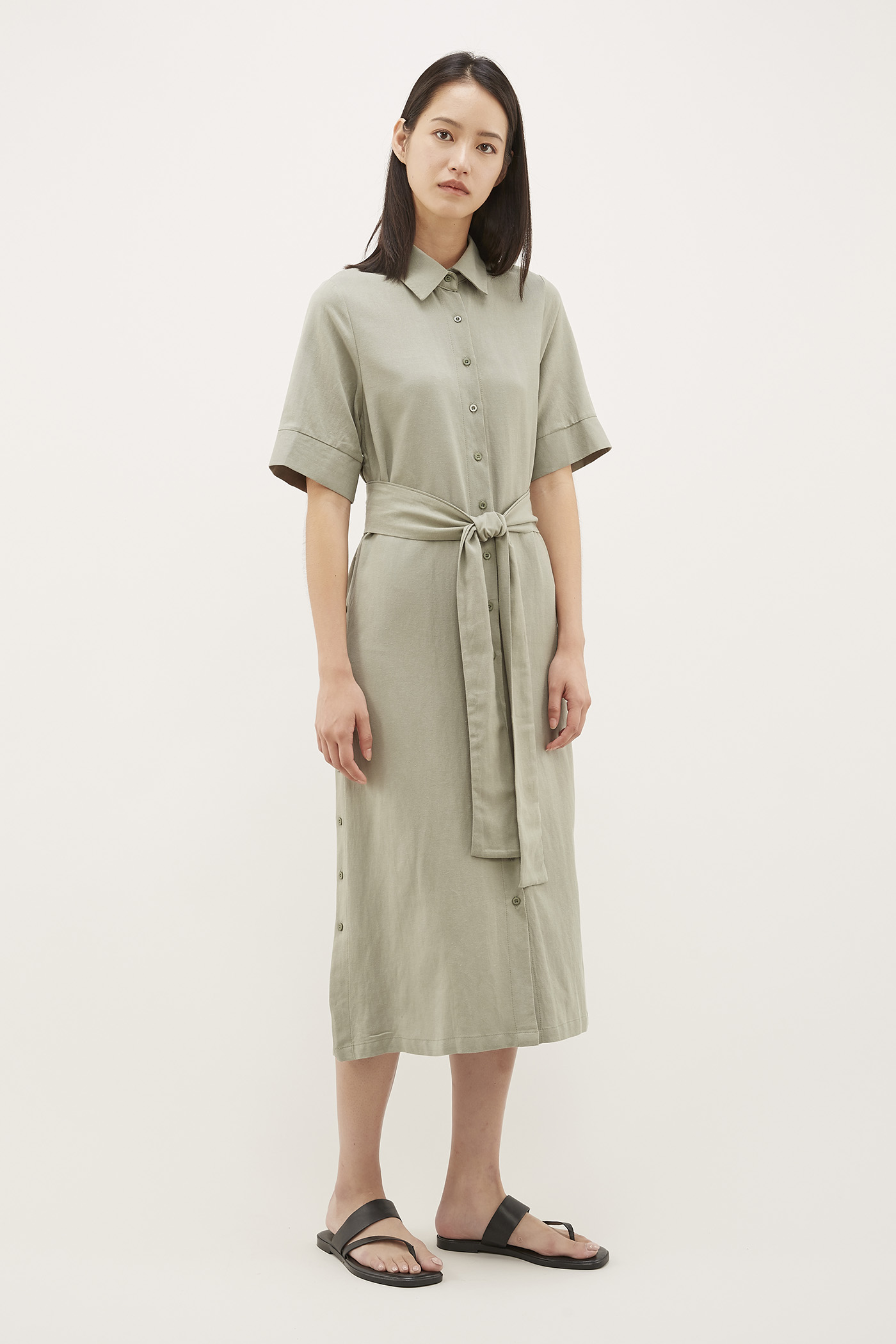 Faren Side-button Shirtdress