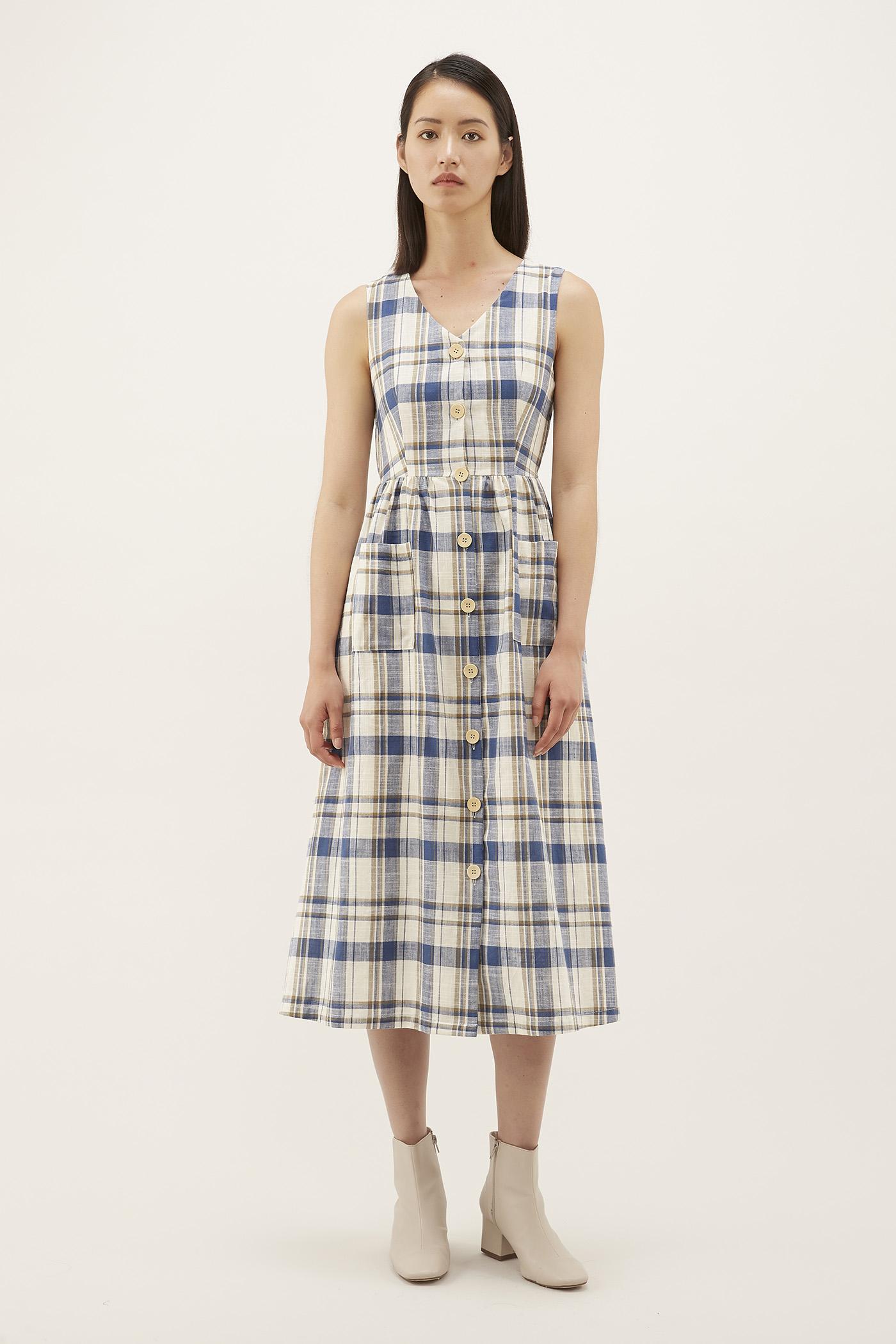 Halina V-neck Cotton Dress