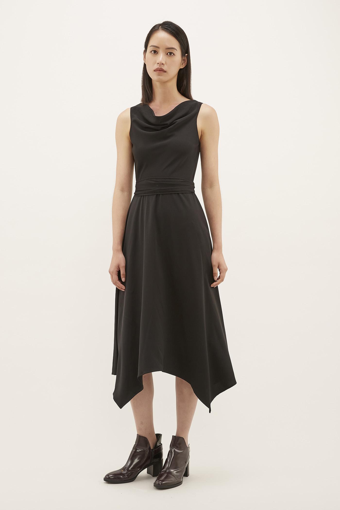 Yoan Cowl-neck Midi Dress