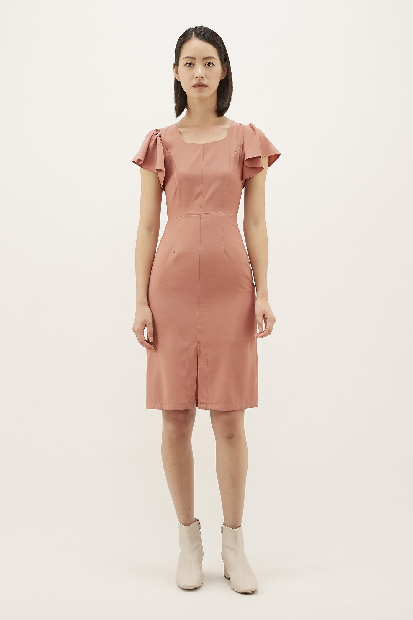 Nowelle Flutter-sleeve Dress