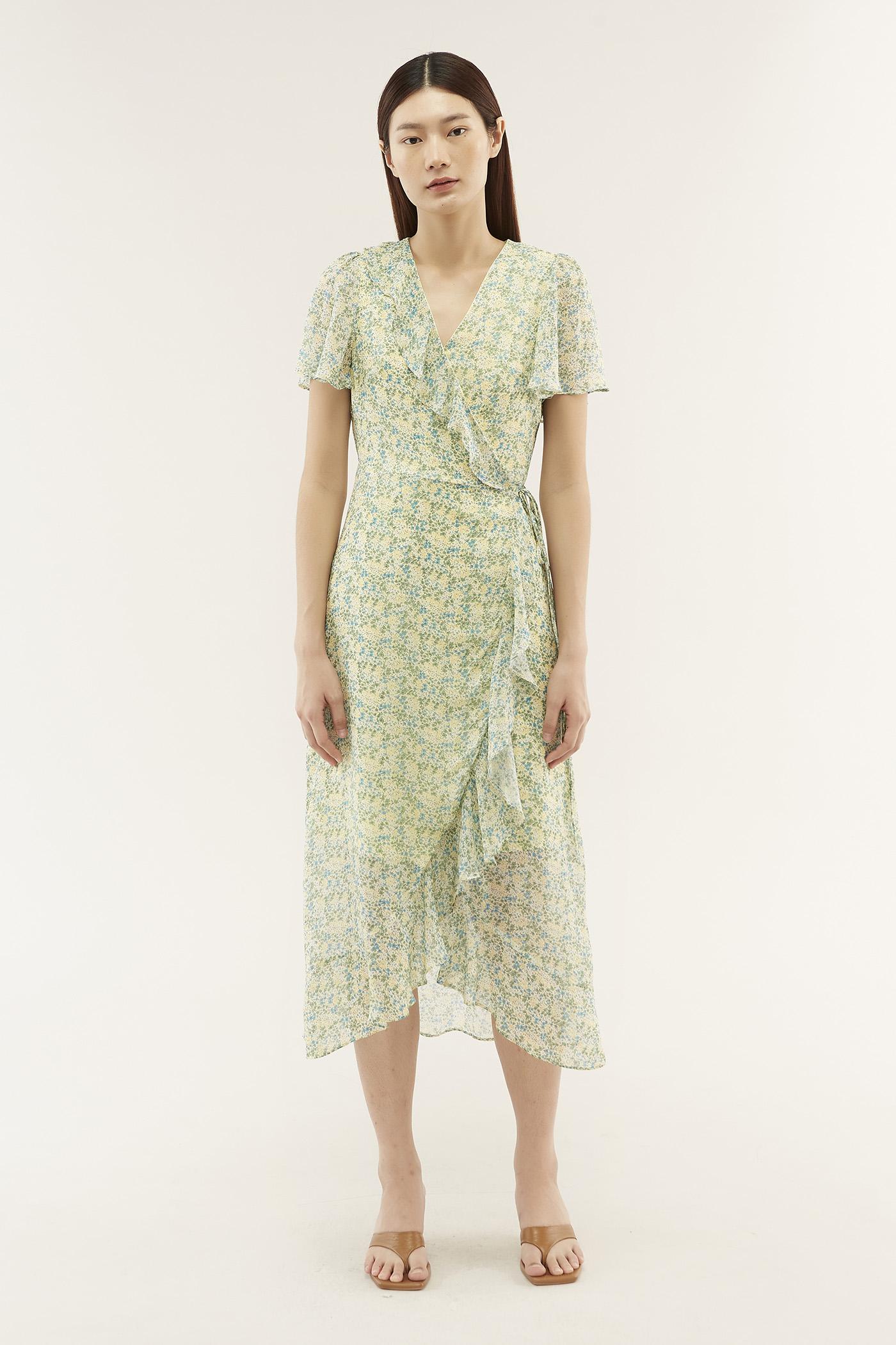 Valene Frill-trim Wrap Dress