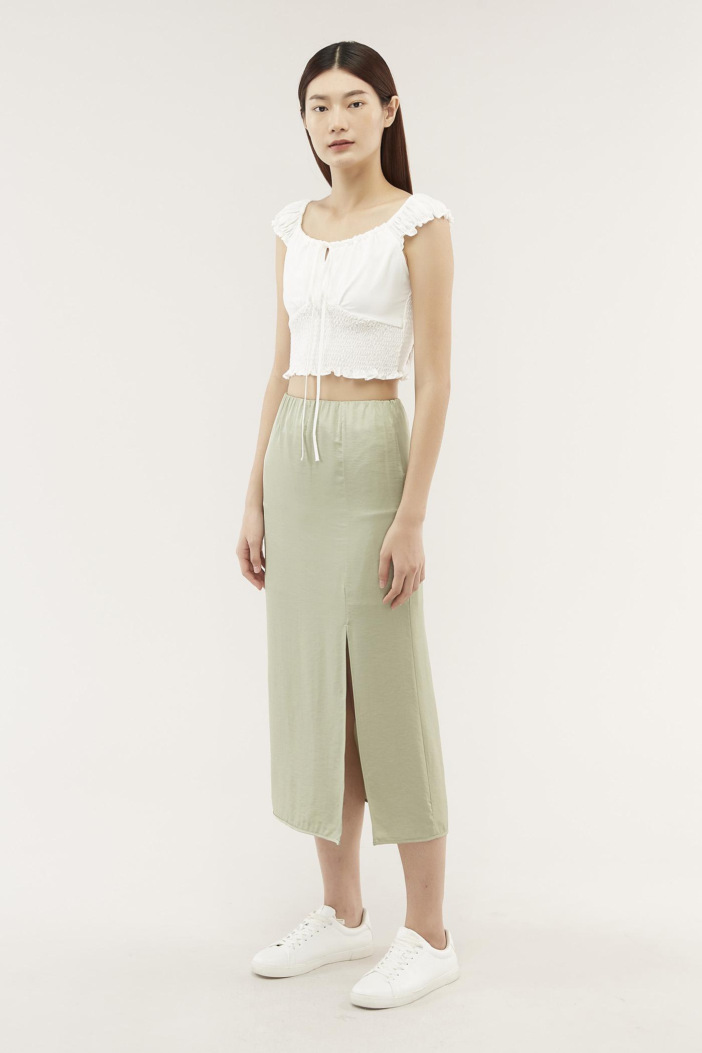Elnora Satin Midi Skirt
