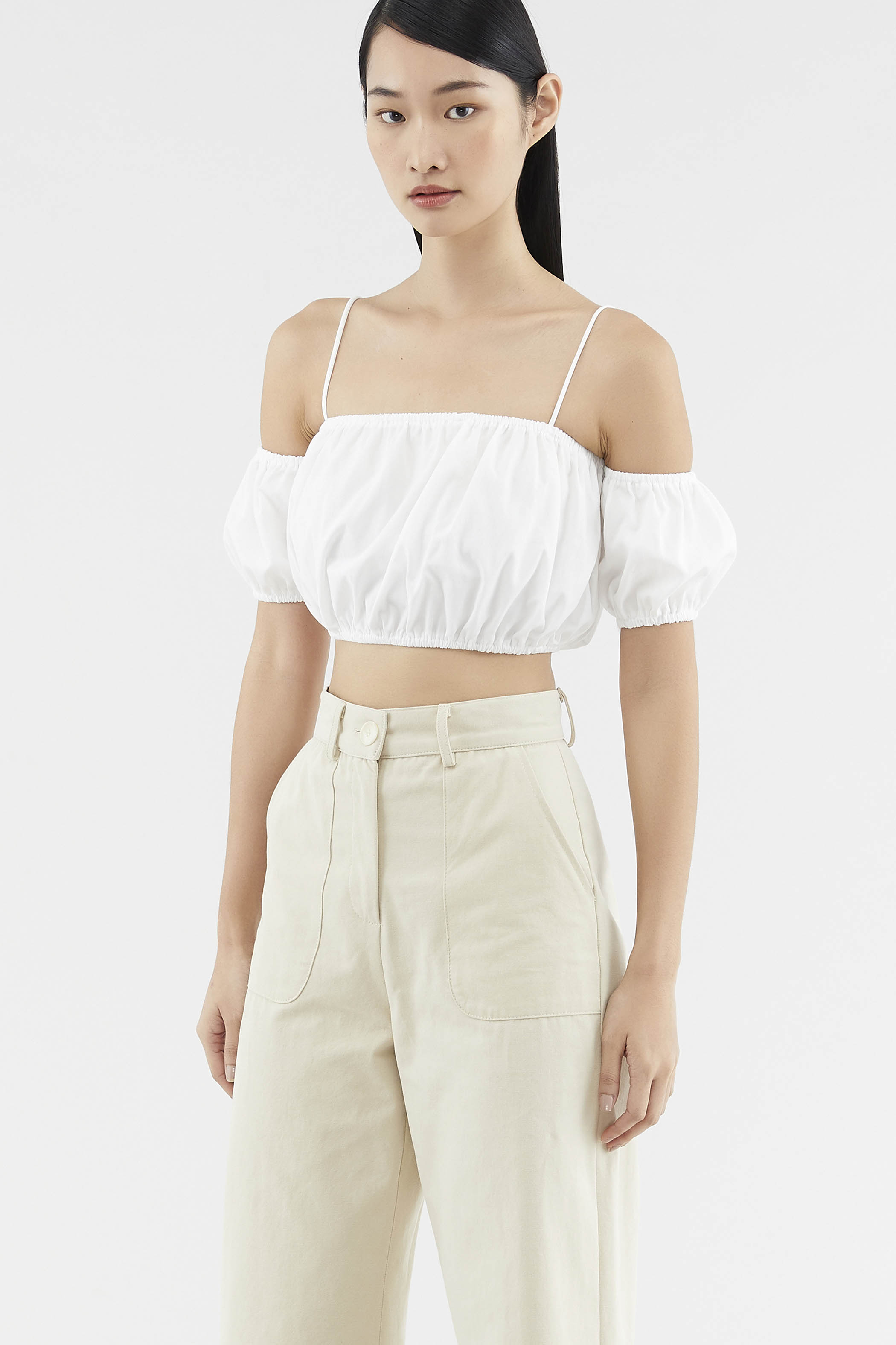 Tamela Cold-shoulder Crop Top