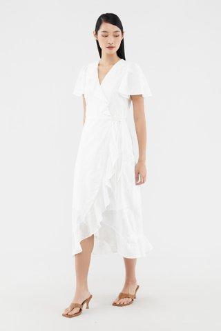 Valia Broderie Frill-trim Wrap Dress
