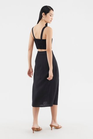 Elquenna Linen Midi Skirt