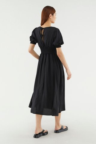Brenna Shirred Midi Dress